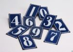 Traditional Blue House Numeral Metal Number Sign Plaque 12cm x 7cm